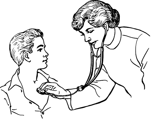 Doctor auscultando con fonoscopio